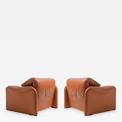Vico Magistretti Maralunga Cognac Leather Club Chairs by Vico Magistretti for Cassina 1974