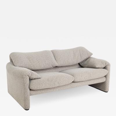 Vico Magistretti Maralunga Sofa by Vico Magistretti for Cassina in Fabric Grey