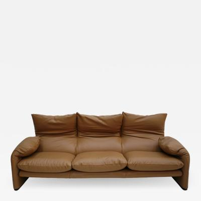 Vico Magistretti Original Vico Magistretti for Cassina Maralunga Brown Leather Italian Sofa