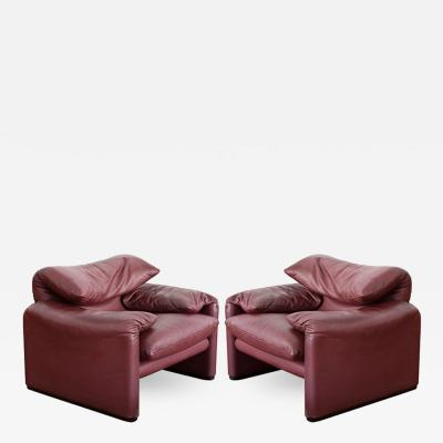 Vico Magistretti Pair Maralunga Armchairs with Ottoman by Vico Magistretti