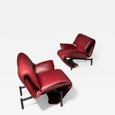 Vico Magistretti Pair of Veranda Leather Lounge Chairs by Vico Magistetti for Cassina