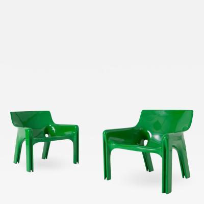 Vico Magistretti Vico Magistretti Vicario Green Lounge Chairs 1970s