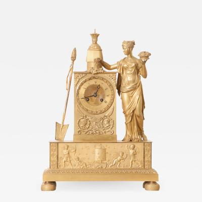 Victor Cacheaux Napoleonic Empire Gilt Bronze Mantel Clock