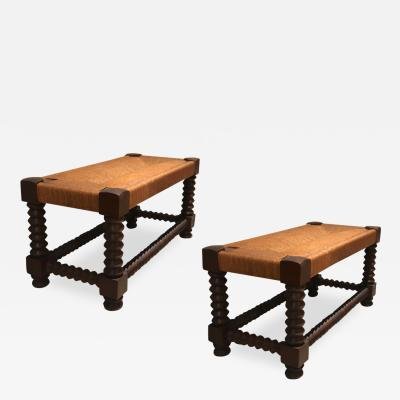 Victor Courtray Victor Courtray organic rare pair of rush and oak benches