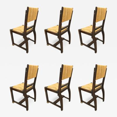 Victor Courtray Victor Courtray set of 6 brutalist oak and rush dinning chairs
