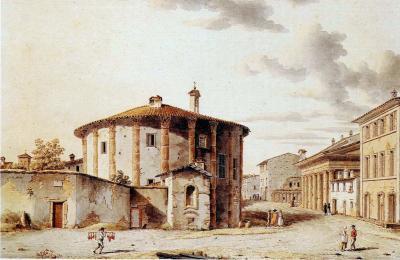 Victor Jean Nicolle Piazza of the Bocca della Verita and the Temple of Vesta