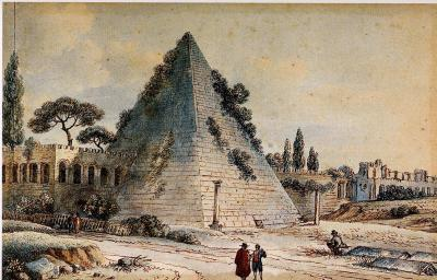 Victor Jean Nicolle Pyramid of Caius Cestius with the Aurelian Walls in Rome
