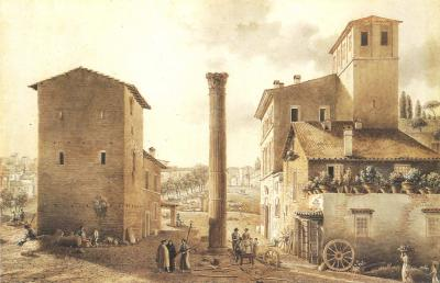 Victor Jean Nicolle The Forum with the Column of Phocas in Rome