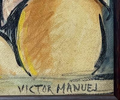 Victor Manuel Villarreal Young Man in Striped Shirt by Victor Manuel Cuba Gouache watercolor