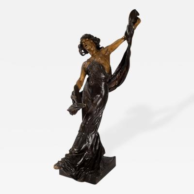Victor S goffin Art Nouveau Patinated Bronze Figural Sculpture by S goffin
