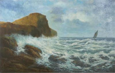 Victor Shearer Massive Oil Painting of a Coastal Seascape by Victor Shearer circa 1934
