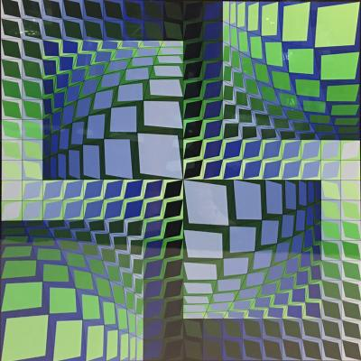 Victor Vasarely CAPITIVATING SIGNED VICTOR VASARELY OPTIC ART LITHOGRAPH