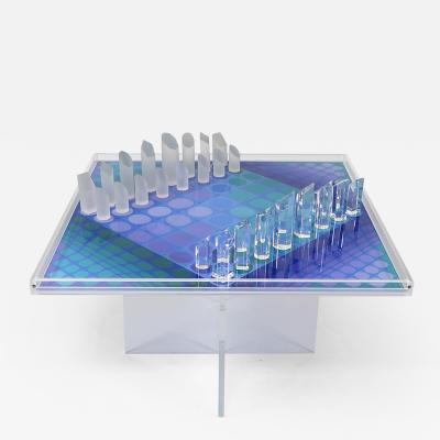 Victor Vasarely Fantastic chess set on acrylic stand