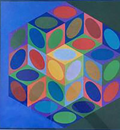 Victor Vasarely Series 1977 Victor Vasarely Colorful Optic Silkscreen