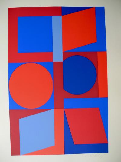 Victor Vasarely Signed Optical Screen Print by Victor Vasarely 1960s