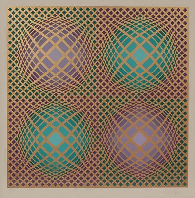 Victor Vasarely Signed Victor Vasarely Op Art Serigraph Vilag with COA