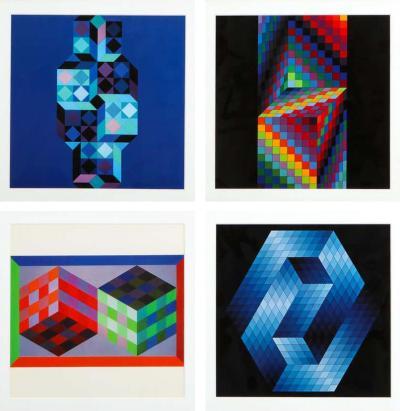 Victor Vasarely Victor Vasarely Gestalt Series Prints by Editions du Griffon Switzerland 1971