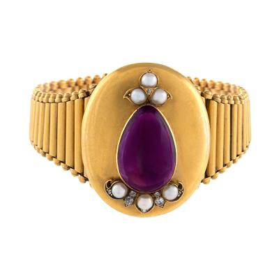 Victorian Amethyst Pearl and Gold Bracelet