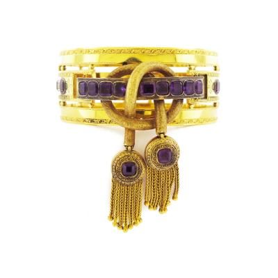 Victorian Amethyst and Gold Detachable Brooch Bangle