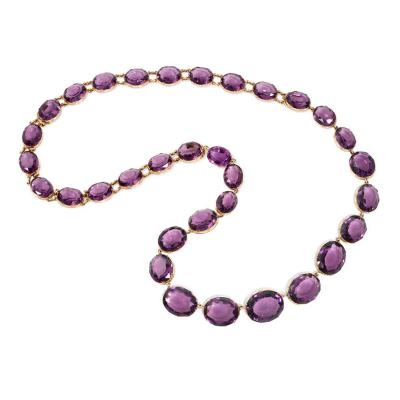 Victorian Amethyst and Gold Necklace Converts to Shorter Rivi res and Bracelets