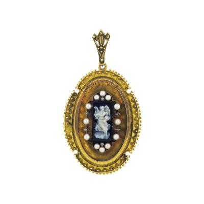 Victorian Angel Cameo Pearl Locket Pendant