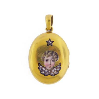 Victorian Angel Face Diamond Wings Locket Pendant
