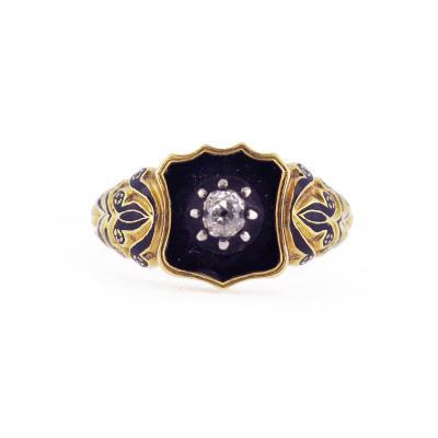 Victorian Black Enamel and Diamond Shield Ring
