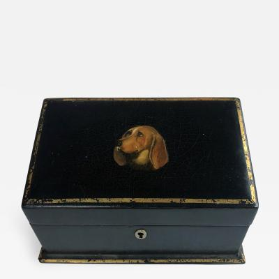 Victorian Black lacquered Letter Box with Expressive Hand painted Basset Hound
