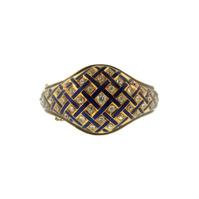Victorian Blue Enamel and Diamond Gold Cuff