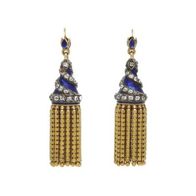 Victorian Blue Enamel and Gold Tassel Earrings