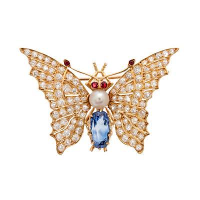 Victorian Butterfly Ceylon Sapphire Pearl Ruby Diamond Brooch