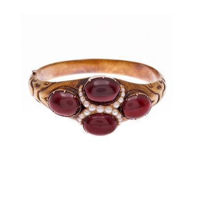 Victorian Cabochon Garnet Pearl Cuff Bracelet