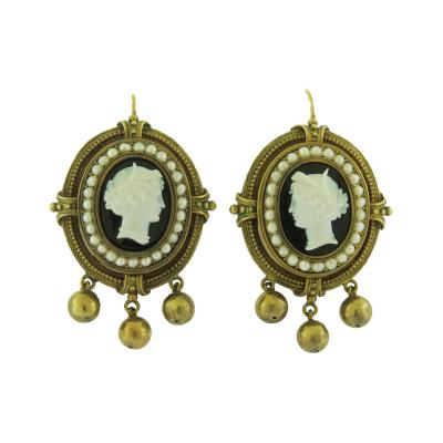 Victorian Cameo and Pearl Gold Earrings