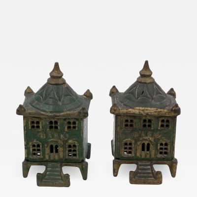 Victorian Cast Iron Pair of Vintage English Architectural Still Banks
