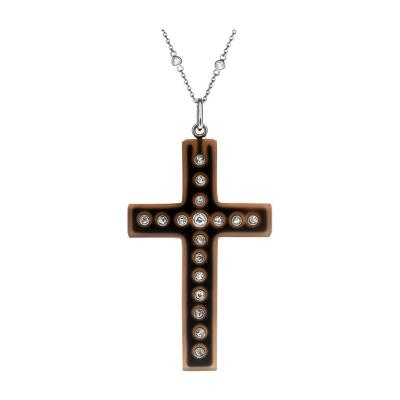 Victorian Chalcedony Diamond Handmade Antique Cross