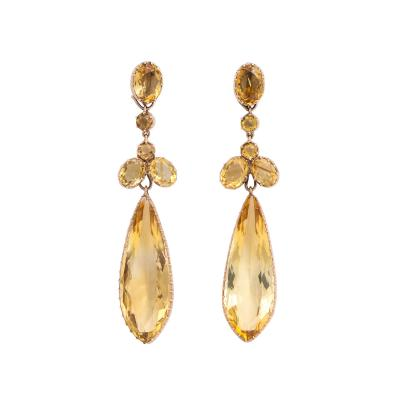 Victorian Citrine Long Pendant Earrings