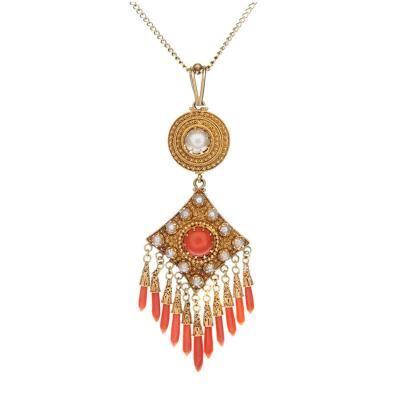 Victorian Coral natural Pearl Yellow Gold Etruscan Pendant