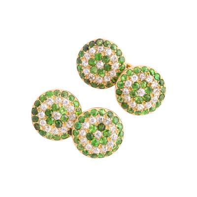 Victorian Demantoid Garnet and Diamond Double Cufflinks