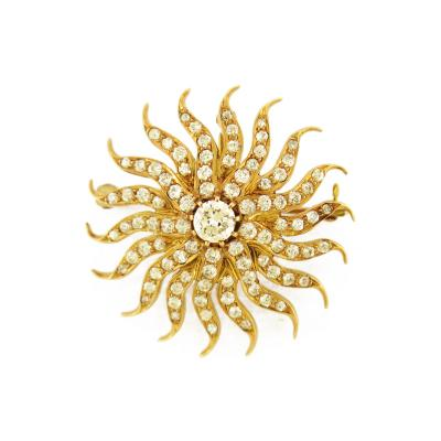 Victorian Diamond Gold Sunburst Brooch