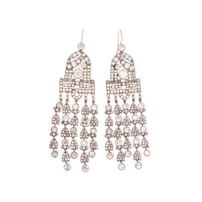 Victorian Diamond Platinum Chandelier Earrings
