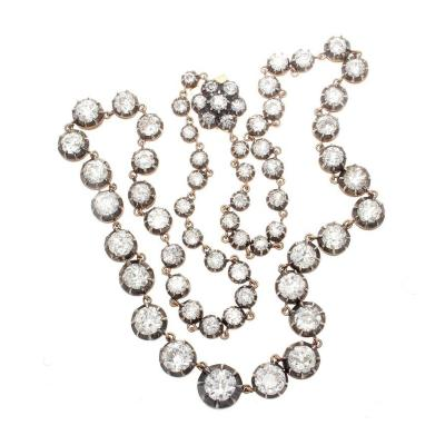 Victorian Diamond Silver Gold Riviere Necklace