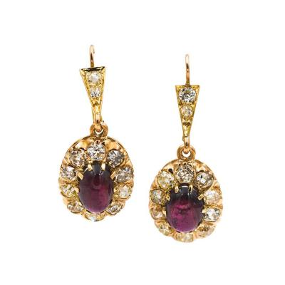 Victorian Diamond and Garnet Earrings