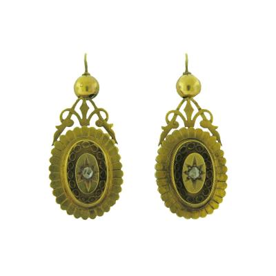 Victorian Diamond and Gold Shield Earrings