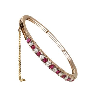 Victorian Diamond and Ruby Bangle Bracelet