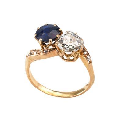 Victorian Diamond and Sapphire Toi et Moi Ring