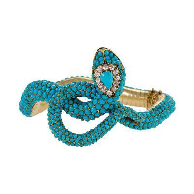 Victorian Diamond and Turquoise Snake Bangle Bracelet