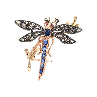 Victorian Dragonfly Brooch with Diamonds Rubies and Sapphires