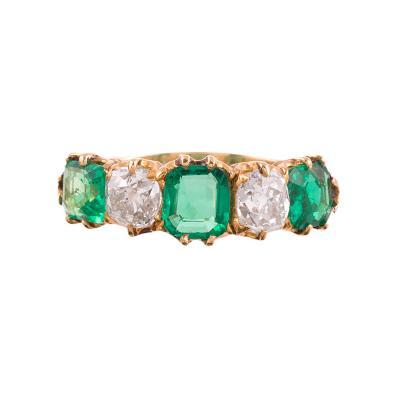 Victorian Emerald Diamond Five Stone Ring