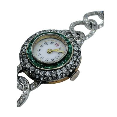 Victorian Emerald Diamond Watch