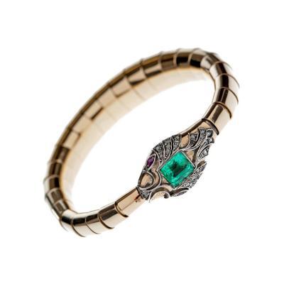 Victorian Emerald Ruby Diamond Gold Silver Snake Bracelet